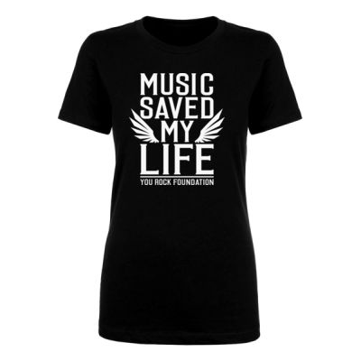 MUSIC SAVED MY LIFE - PREMIUM WOMEN'S FITTED S/S TEE - BLACK Thumbnail