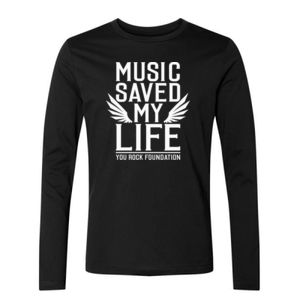 MUSIC SAVED MY LIFE - PREMIUM MEN'S/UNISEX L/S TEE - BLACK Thumbnail