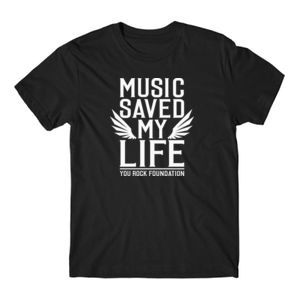 MUSIC SAVED MY LIFE - PREMIUM MEN'S/UNISEX S/S TEE - BLACK Thumbnail
