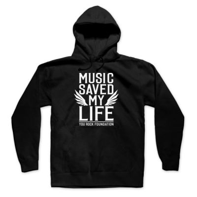 MUSIC SAVED MY LIFE - PREMIUM MEN'S/UNISEX PULLOVER HOODIE - BLACK Thumbnail